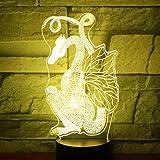 Luz de noche LED 3D para decoración del hogar única con dinosaurio dragón cortado en papel y luz para el hogar Luz de color atmosférica de Halloween