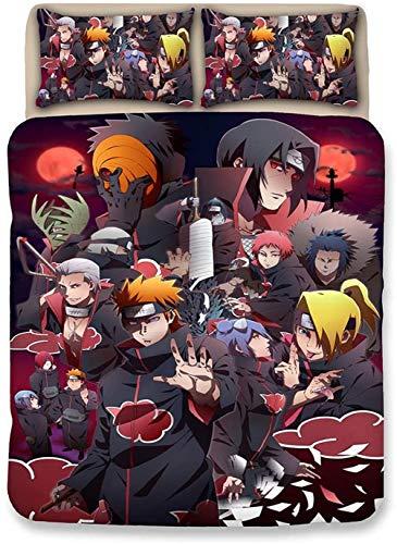 Amacigana Funda nórdica Naruto ? Juego de Cama 3D Funda nórdica (1 Funda nórdica + 2 Fundas de Almohada),100% Microfibra (Naruto #15,135 x 200 cm)