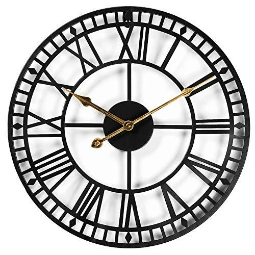 CIFFOST Reloj de Pared Redondo Retro números Romanos silencioso Reloj de Pared sin garrapatas, estación Reloj de Pared hogar jardín Oficina cafetería decoración-Negro_Los 40CM