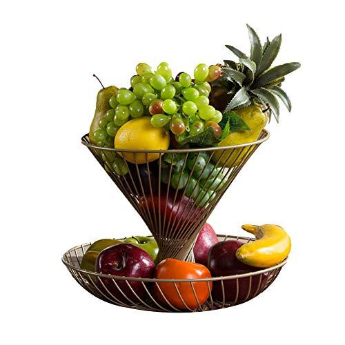 TINGTING-Porte-fruits Corbeilles à Fruits Ménage Deux Couches Panier de Fruits Entonnoir en métal de Mode créative Mesh (Couleur : Or, Taille : 30 * 22)