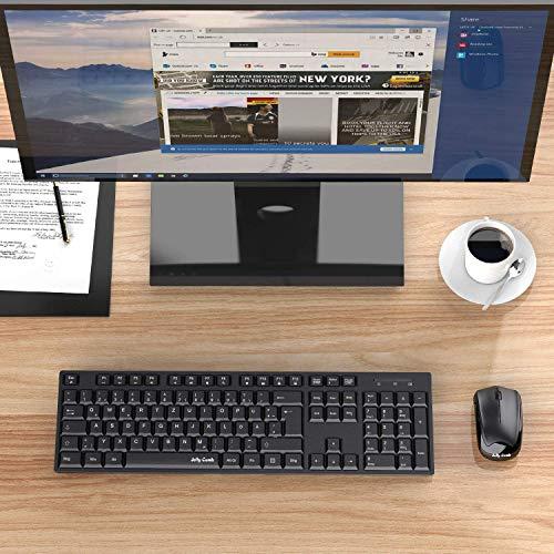 Jelly Comb Kabellose Tastatur Maus Set, 2.4G Funktastatur Maus Set mit QWERTZ Layout (Deutsch), Maus Tastatur Set mit 12 Multimedia-Tasten für Computer/Desktop/PC/Laptop, Schwarz