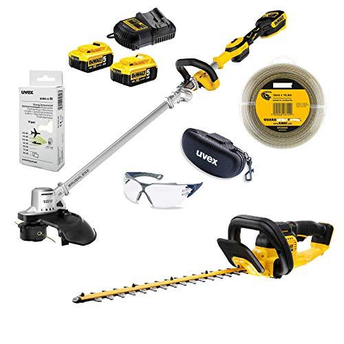 DeWALT UVEX Gartenpflege-Set, Rasentrimmer, Heckenschere, Trimmerfaden, Schutzbrille + Brillenetui, Gehörschutz 18 V, Ausführung:mit Akkus und Ladegerät