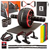 STELLARH 17-in-1 at Home Gym Set Full Body Workout Home Exercise Equipment with Ab Roller Wheel,...