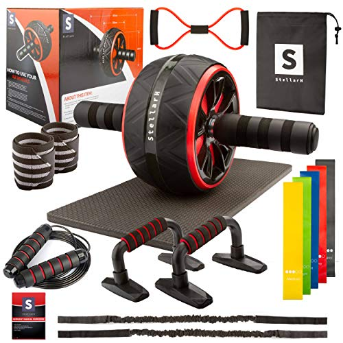 STELLARH 17-in-1 Ab Wheel Roller Kit with Resistance Bands, Knee Mat, Jump Rope, Push-Up Bar & Extras - Home Gym Equipment for Men Women