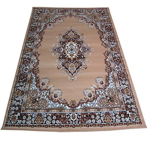 WEBTAPIS Tapis Motif Oriental Tapis Pas Cher Salon Persian 6210-BEIGE cm.180x270