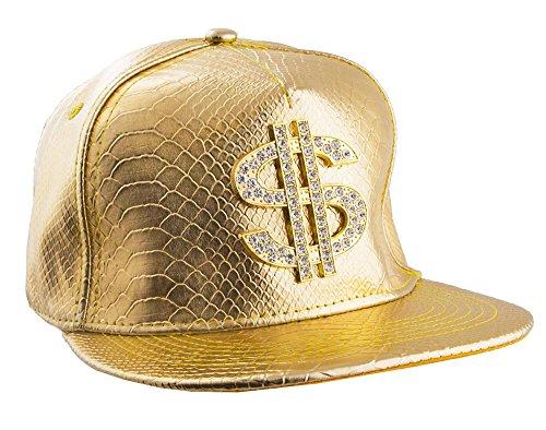 Funny Fashion Goldenes Basecap mit Dollar Zeichen - Coole Schirmmütze Zum Rapper Hip Hop 80er Jahre Party Kostüm
