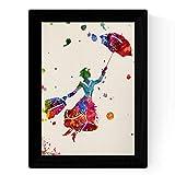 Nacnic Lámina de la Famosa pelicula Mary Poppins (Volando) en tamaño A4 Poster Estilo explosión de Color Papel 250 gr Marco