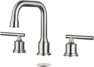 WOWOW 2 Handles 8 inch Widespread High Arc Bathroom Faucet Brushed Nickel Lavatory Faucet 3 Hole 360°Swivel Spout Modern Sink Basin Faucets
