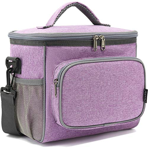 Insulated Reusable Lunch Bag Adult Large Lunch Box for Women and Men with Adjustable Shoulder Strap,Front Zipper Pocket and Dual Large Mesh Side Pockets by FlowFly,Purple