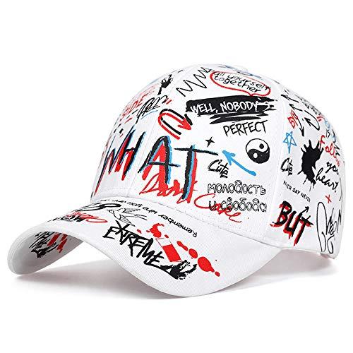 Kappe Graffiti-Druck Baseballkappe Baumwolle Schatten Hut Verstellbar Freizeithüte Für Männer Frauen Outdoor Frühling Herbst Sommer-Weiß_Anpassbar