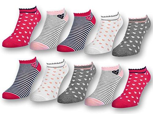 10 Paar Kinder Sneaker Socken Jungen und Mädchen Baumwolle Kindersocken (27-30, 10 Paar   56271)