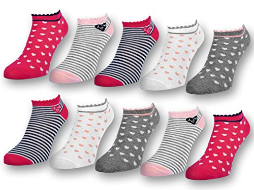 10 Paar Kinder Sneaker Socken Jungen & Mädchen Baumwolle Kindersocken (31-34, 10 Paar | 56271)