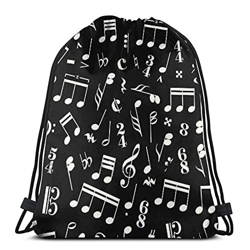 AsakawaKoutarou Bolsas de cuerdas muchos letreros musicales y una nota sobre fondo negro-2, bolsa de cuerda Mochila Cinch Bolsa de playa de nailon resistente al agua para gimnasio, compras, de