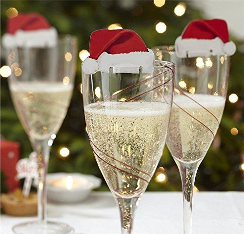 HENGSONG 10 Mini Lustige Weihnachtsdeko für Gläser Weinglas Weihnachtsmannmützen Tischdekoration Party Weihnachten Deko