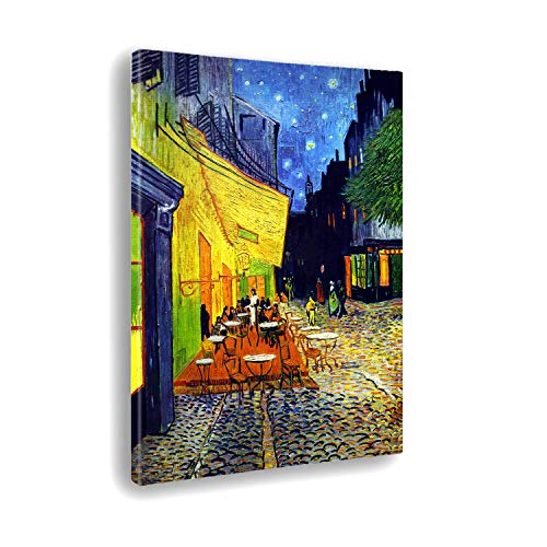 Giallobus - Quadro - Stampa su Tela Canvas - Vincent Van Gogh - Terrace of A Cafe' At Night - 50 X 70 Cm