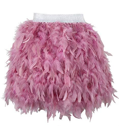 L'VOW Mujer Sexy Cintura Media Mini línea A Falda de Naturales Plumas para Fiesta de Bodas de Halloween (Rosa empolvado, S)