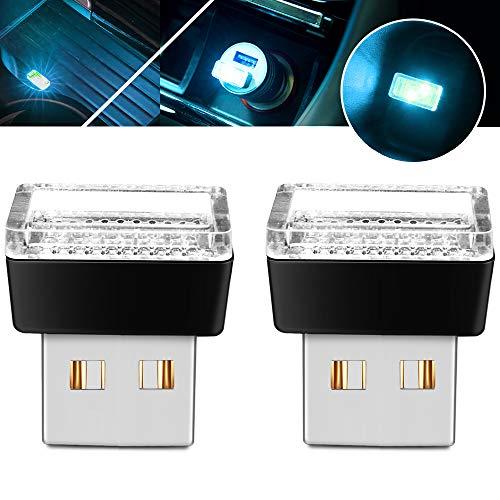 BukNikis USB Simple Atmosphere Lights USB Car Interior Accessories Lighting - Universal (Aqua Ice Blue, 2 pcs)