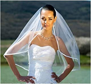 Bridal Veil Bridal Illusion White Ivory One Layer Elbow Length Satin Edge Wedding Veil with Comb Wedding (Color : Ivory)