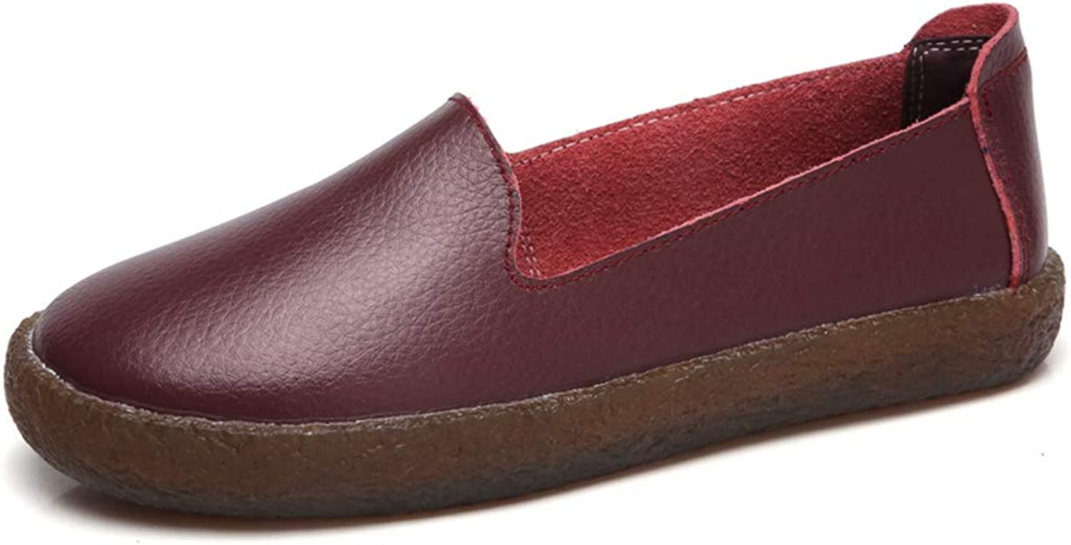 T-JULY Women's Genuine Leather Casual Flat Loafers Nurse Moccasins Slip on shoes
