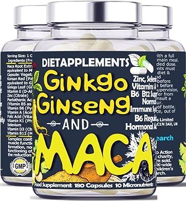 Maca Root 4000mg, Ginkgo Biloba, Korean Red (Panax) Ginseng - 4256mg - Vegan Capsules - Zinc, Vitamins D3, E, B5, B6, B12, A, K, Folic Acid, Selenium for Immune System & Hormonal Activity. 1 Bottle