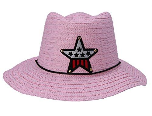 COMVIP Kind Mädchen Junge Outdoor Sonnenhut Strohmütze Cowboyhüte Pink