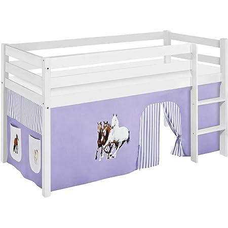 Lilokids Lit Mezzanine JELLE Cheveaux-Lilas -lit d'enfant Blanc - avec Rideau - lit 90x190 cm