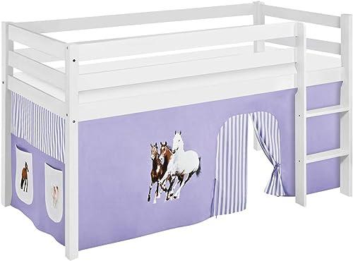 100% precio garantizado Lilo Kids Juego Cama Jelle Jelle Jelle Caballos, hochbett con Cortina Cuna, Madera, púrpura Beige, 198x 98x 113cm  entrega rápida