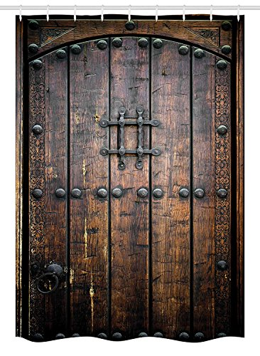 Yeuss Cortina de Ducha rústica, Puerta de Madera Antigua,histórico,Vintage,Exterior,Estructura Medieval,impresión artística