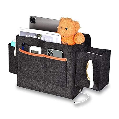 Lfhing Felt Storage Bag Hanging Pocket Bedside Organizer con gancio e nastro adesivo per controllo remoto Book Pad