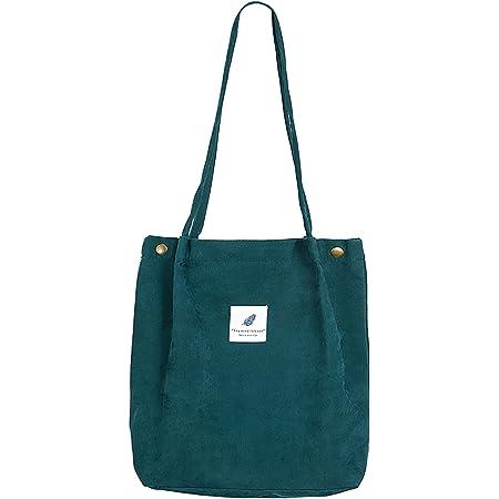 MNEUSHOP Groß Cord Tasche Damen Cord Umhängetasche Umwelt Schultertasche Lässige Handtasche Fashion Stofftasche Canvas Bag für Alltag Schulausflug-Dark Green