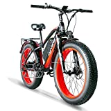 Cyrusher XF650 Electric Bike 1000W Mountain Bike 26 * 4inch Fat Tire Bikes 21 Speeds Ebikes for Adults with 13Ah Battery (Red)