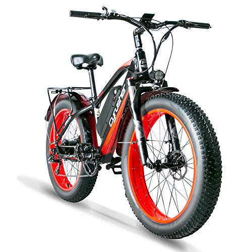 Cyrusher XF650 1000W Electric Mountain Bike 264 inch Fat Tire e-Bike 7 Speeds Beach Cruiser Mens Sports Mountain Bike for Adults,48V 13AH Lithium Battery Beach Cruiser for Adults (Red)