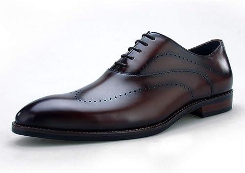 Rui Landed Oxford para hombres zapatos Formales Cordones Estilo Cuero Genuino Bloque Talón Punta Puntiaguda Tallada Punta de ala de Negocios Estilo único Discoteca (Color   marrón, tamaño   40 EU)