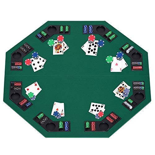 HomCom 48'' Octagon Blackjack Poker Game Table Top Folding 8 Player Fit Various Desktop