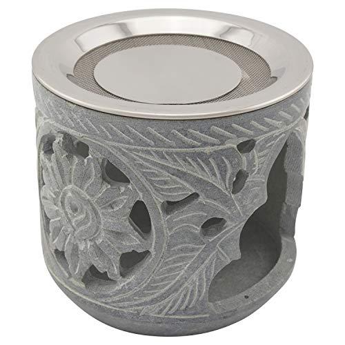 """K W Räucherstövchen aus indischem Speckstein mit Edelstahl-Sieb und Metallscheibe – Design """"Shiva – H 9 cm"""