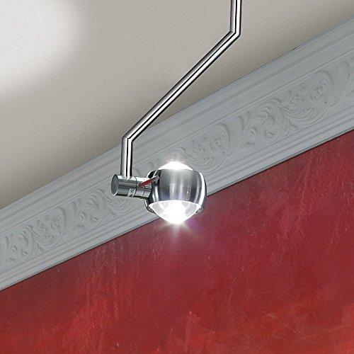 s.LUCE Beam Effekt Deckenleuchte 1-flammig 40cm hoch Alu gebürstet Deckenlampe Effektleuchte Glaslinse Lampe Design modern