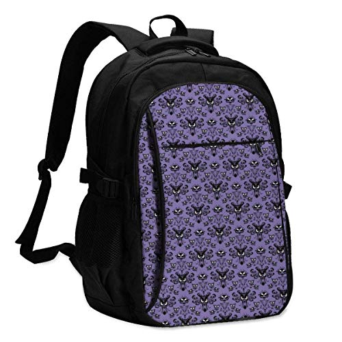 asfg Haunted Mansion Multifunctional Personalized Customized USB Backpack, Student School Outdoor Backpack,Travel Bag Laptop Bookbags Business Daypack.
