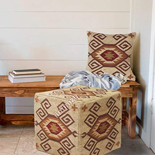 iinfinize Puf vintage de yute, funda de yute y funda de almohada de 45,7 cm, funda de cojín de yute, funda de cojín vintage hecha a mano de yute