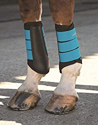 A white horse's legs wearing a pair of black brushing boots with blue straps