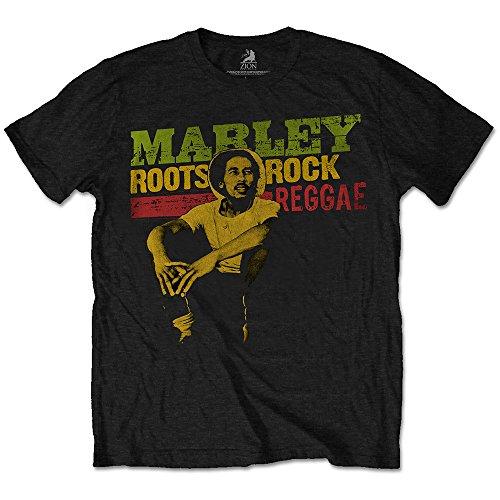 Bob Marley Roots, Rock, Reggae Camiseta, Negro (Black Black), Medium para Hombre