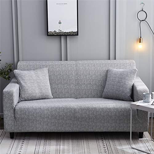 Surwin Funda de Sofá Elástica para Sofá de 1 2 3 4 plazas, Impresión Universal Cubierta de Sofá Cubre Sofá Funda Furniture Protector Antideslizante Sofa Couch Cover (Gris,4 plazas - 235-300cm)