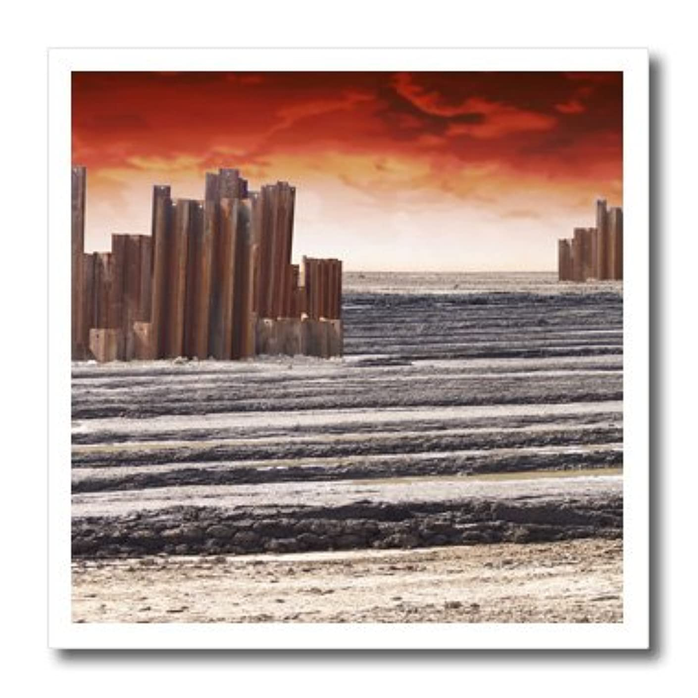 3dRose ht_19934_3 Down Town Rusted Steel Remnants of an Urb an Architectural Structure Iron on Heat Transfer for White Material, 10 by 10-Inch