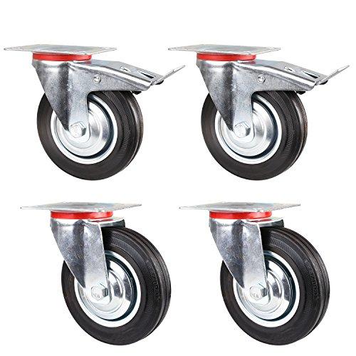 FIXKIT 4 Stück Lenkrollen Set 160mm Schwerlastrollen 2 mit und 2 ohne Bremse,Tragkraft 450 kg