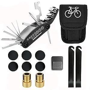 Kit de herramientas de reparación de bicicletas 16 en 1 multifunción bicicleta mecánico Fix herramientas con bolsas Storge parche palancas