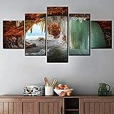 WZXYX Rahmenlos Leinwandbild - 5 Stück Vlies Leinwandbild 5 Naturlandschaft Leinwand 5 Stück Meerwasser Bild Poster Home Wandmalerei Kunst