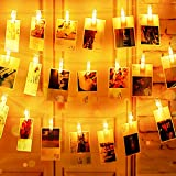 LED Fotoclips Lichterkette, Mr.Twinklelight® Lichterketten USB/Batteriebetrieben 2.2M 22 LED Lichterketten 8 Modi, Deko für Wohnzimmer, Weihnachten, Hochzeiten, Party (Warmweiß)