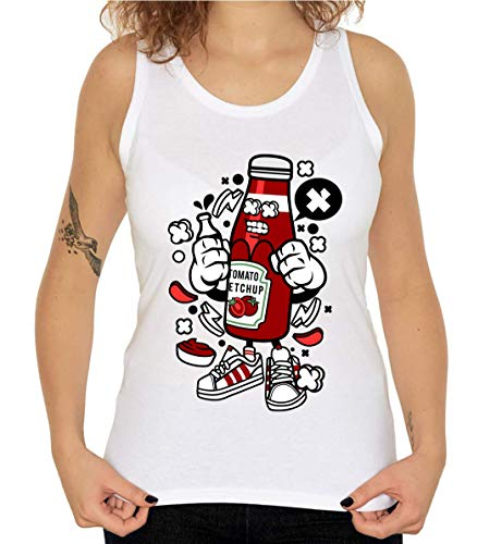 Cartoon Style Tomato Ketchup Food Lover Sauce T-shirt voor dames