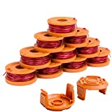 X Home Durable WA0010 Pre-Wound Weed Eater String Combo Set Compatible with Worx WG163, WG180 Trimmers, Easy to Install(10 Spools & 2 Caps)