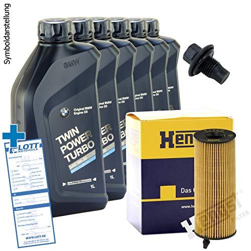 Ölwechsel Set Inspektion + 6 Liter Original Motoröl Twinpower 5W-30 Motorenöl Longlife 04 + HENGST Ölfilter + Öl Ablassschraube Verschlussschraube
