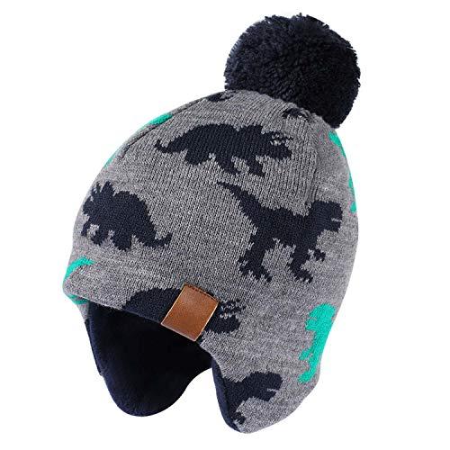 Tacobear Jongen wintermuts wintersjaal gebreide muts beanie oorbeschermer hoed en sjaal voor kinderen meisjes (dinosaurehoed, L (4-7 jaar))